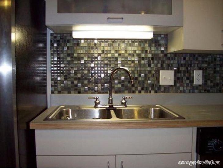 Фартук на кухне из плитки мозаики фото 187 Строительство