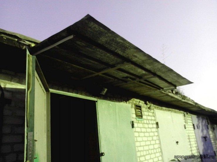 Козырек над воротами гаража своими руками фото