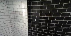 Видео - как смотрится плитка в чёрно-белых тонах в ванной.