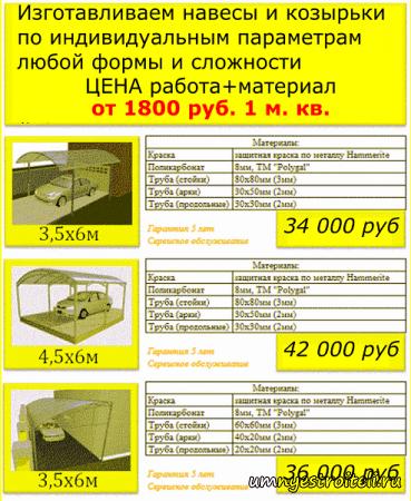 Навесы в Донецке + Макеевке из поликарбоната, профнастила или металлочерепицы.