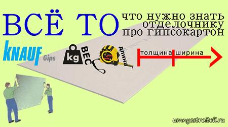 Технические характеристики ГКЛ: ВЕС в листе и 1 м.кв, ШИРИНА, ДЛИНА и ТОЛЩИНА.